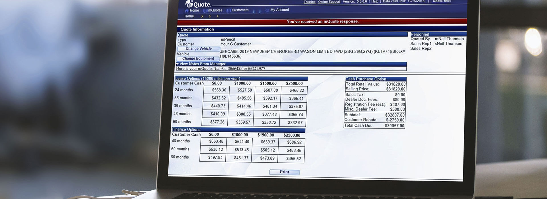 mQuote's Database computer screen